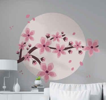 Hermosa vinilo flores de árbol en círculo rosa diseñado de forma elegante para decorar tu casa. Fácil de colocar ¡Envío a domicilio!