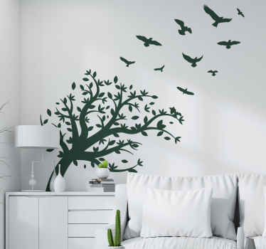 A decorative  monochrome tree wall art decal design with birds flying all over it. Easy to apply and of high quality vinyl.