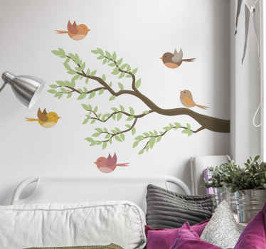 Vogel op draaiende takken muursticker. Het is gemakkelijk aan te brengen en gemaakt van hoogwaardig vinyl. Verkrijgbaar in elke gewenste maat.
