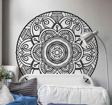 Special decorative black and white bohemian floral decal to beautify any space. The design is a round background pattern, easy to apply and adhesive.