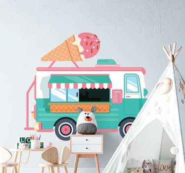 Ice cream truck illustration sticker. A happy decorative sticker for children room space, easy to apply and of high quality.