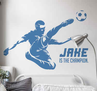 Personalized name football player wall art sticker, the design is featured with a player kicking a ball with a strong strike position.