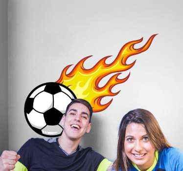 Schießen feuerball fußball Wandtattoo, eine schöne dekorative idee für teenager und kinderzimmer. Einfach anzuwenden und von hoher Qualität.