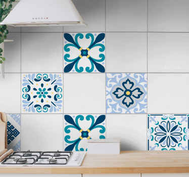 An original waterproof flower tile decal with different design patterns and colours. The design is decorative for a kitchen and bathroom tile space.
