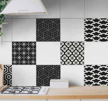 Decorative grey and white flower pattern tile sticker. Great decorative idea for your home and on commercial space. Easy to apply and of high quality.