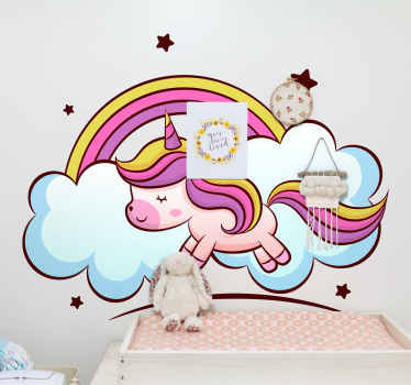 Decorative unicorn fairy tale sticker with the design of a colorful unicorn design, cloud, rainbow and stars in an amazing colour.