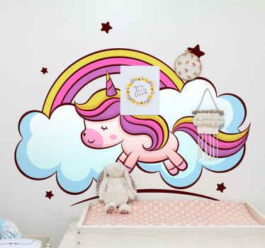 Okrasna pravljična nalepka samorog z dizajnom barvnega dizajna samoroga, oblaka, mavrice in zvezd v neverjetni barvi.