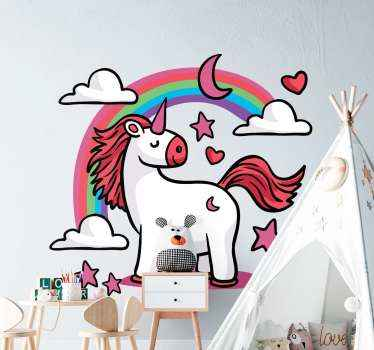 An amazing illustrative fairy tale children decal to decorate the room of children, It is a unicorn fairy tale sticker with cloud, stars and rainbow.