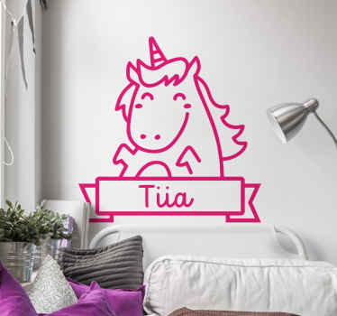 Customize this unicorn drawing fairy tale vinyl sticker to decorate the bedroom of your young on in the home. Easy to apply and of high quality.