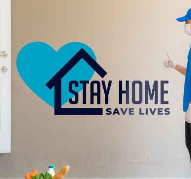 Μείνετε σπίτι στεφάνη κειμένου σημάδι κορώνας που δημιουργήθηκε με ένα εικονικό σχέδιο σπιτιού, σχήμα καρδιάς και κείμενο. είναι εύκολο να εφαρμοστεί και κατασκευασμένο από υψηλής ποιότητας βινύλιο.