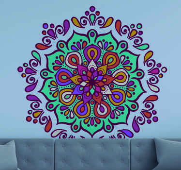 Colorful floral patternmandala wall sticker design for home or any other space. It is self adhesive, durable and easy to apply.