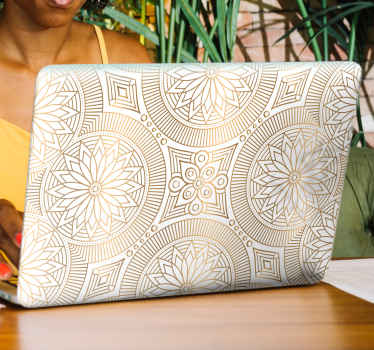 Golden tones mandala laptop decal  to decorate a laptop surface. It is easy to apply and highly durable. Available in any laptop dimension.