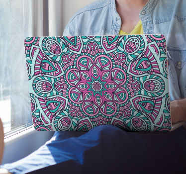 Colorful mandala laptop sticker with lovely appearance to decorate a laptop. It is self adhesive, durable and easy to apply and remove.