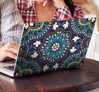 Decorative featured mandala pattern laptop decal with a blue tone background. This ornamental mandala laptop sticker is original and easy to apply.