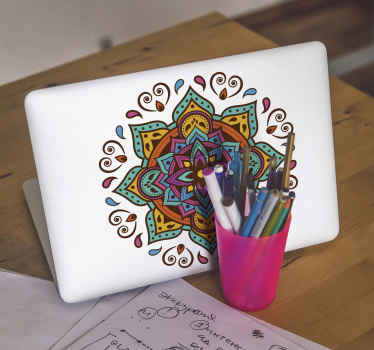 Decorative ornamental mandala flower pattern decal for any laptop space. It is easy to apply, self adhesive and resistant to wrinkle effect.