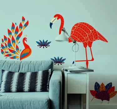 Vinilo animales estilo tenango con un pavo real y un flamenco en tonos cálidos. Es autoadhesivo y fácil de aplicar ¡Envío a domicilio!