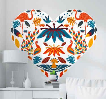 Tenango hartstijl met vogelmuursticker om elk plat oppervlak naar keuze te versieren. Het is gemakkelijk aan te brengen en gemaakt van hoogwaardig vinyl.