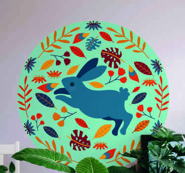 A round pattern decorative animal sticker design featured with a running rabbit. It is easy to apply and of high quality.