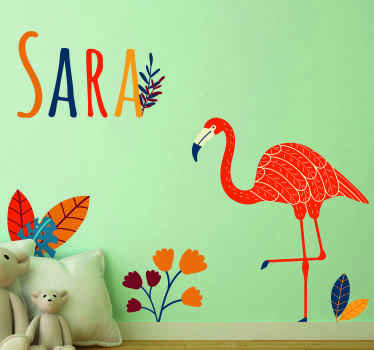 Personalice el nombre del vinilo infantil animales de flamenco y flor con un color de diseño en estilo tenango mexicano  ¡Envío a domicilio!