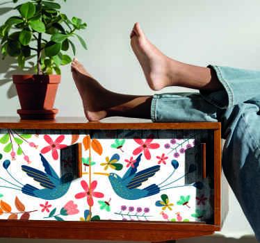 このテナンゴの植物と鳥のデカールで家具のスペースを変えてください。自己接着性を備えた高品質のデザイン。