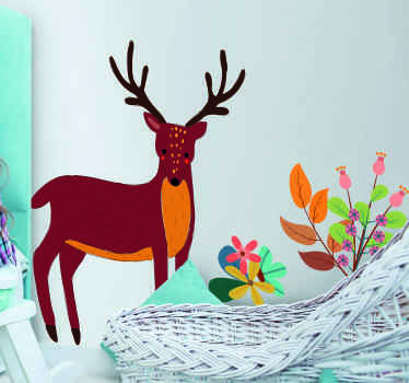 Decorative tenango  style deer wild animal decal, Made of high quality vinyl and easy to apply on flat surface. Available in any size.