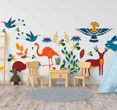 Dekorativer Aufkleberfür tiere und Pflanzen im tenango-stil zur dekoration jeder ebenen fläche. Es ist mit pfau, vögeln und pflanzen in trenagos farbe gekennzeichnet.