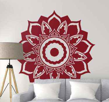 Decorative mandala flower decal in a rose appearance design. The design is monochrome so it can be customized in any one of our 50 colours available.