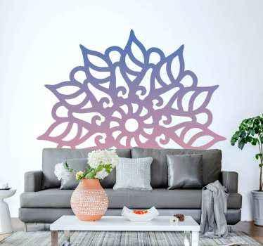 家と他のスペースのためのカラフルなマンダラの青とピンクの花の壁のステッカー。このデザインは素晴らしい外観の多色デザインです。