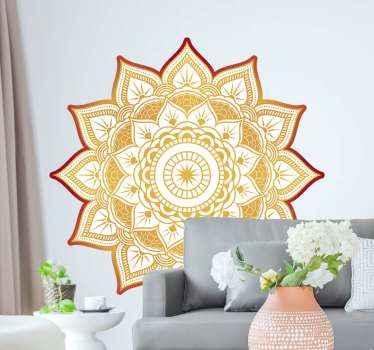 Autocolante de parede floral de forma de sol de mandala para a decoração de casa e escritório. é autoadesivo e fácil de aplicar. Disponível em qualquer tamanho necessário.