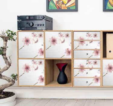 Geef een decoratief tintje aan u keukenkast, kast, woonkamer en slaapkamer met dit geweldige roze bloemenmeubelsticker in aquarel.