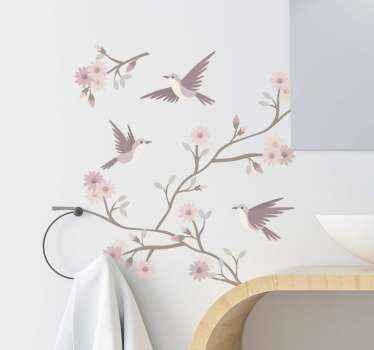 Adorável autocolante de flor de primavera com pássaros pairando ao redor. Um produto de vinil de alta qualidade com capacidade autoadesiva. Disponível em qualquer tamanho necessário.