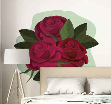 Beautiful bouquet flower wall sticker to give an ornamental touch to any space.This amazing rose  flower decal is easy to apply.