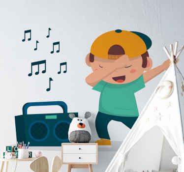 Un vinilo decorativo infantil divertido para el dormitorio infantil de un niño bailando con casete de música ¡Envío a domicilio!