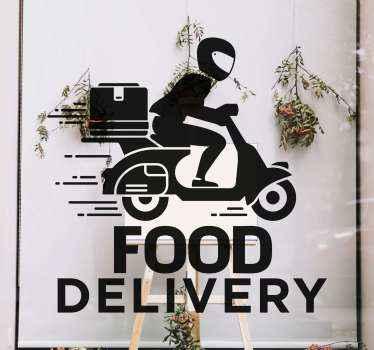 Voedsellevering tekst raam sticker ontwerp. Het ontwerp is een bezorger op een fiets met de tekst 'food delivery', het is personaliseerbaar in verschillende kleuren.