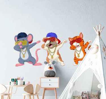 Drie dansende katten stickers voor kinderen. Grappige katten dansen en het zou grappig zijn voor elk kind. Makkelijk aan te brengen en van goede kwaliteit.
