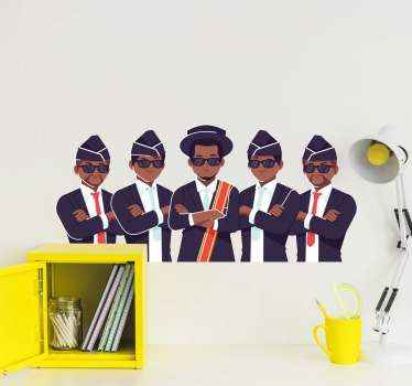 Ghana dancing pallbearers sticker. A group of personality wall decal of group pallbearers in Ghana who are responsible for dancing with dead people.