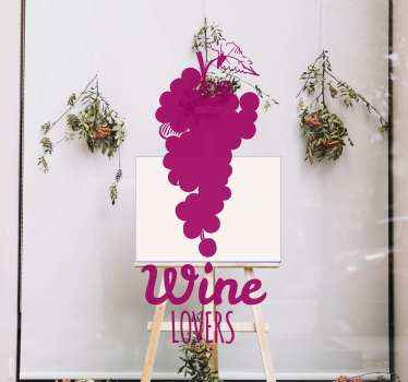 """Vetrofania per amanti del vino, un bellissimo disegno ornamentale astratto con il testo """"amanti del vino"""". è facile da applicare e di alta qualità."""