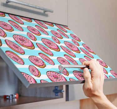 Decoratief roze donuts stickers dat op elk vlak oppervlak kan worden aangebracht om te verfraaien. Het is decoratief op meubels en persoonlijke accessoires.