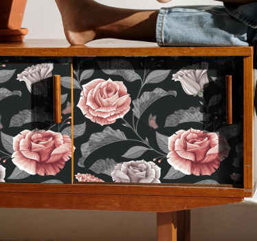 Decorative rose flower furniture sticker design to beautify the space of any furniture. It is decorative for table, cabinets, drawers and wardrobe.