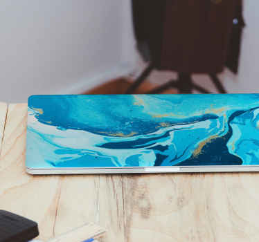 Elegant blue painting laptop sticker for your device. Design contains  abstract painting  and it would look really amazing on the surface of any laptop.