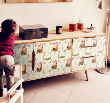 Mariene patroon meubels in scandinavische stijl. Het ontwerp is decoratief voor elke meubelruimte en geschikt voor de slaapkamer van een kind.