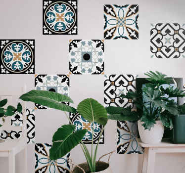 Looking for a unique but classic wall tile decal for a bathroom or kitchen space? Our Portuguese blue and black pattern tile sticker got you covered.