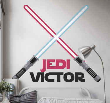 Laser swords with name Personalized Sticker.  A nice and illustrative design to decorate the bedroom of a boy. Easy to apply and of high quality.