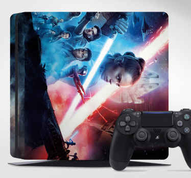 Star wars character ps4 skin decal.  The design host the images of star wars personalities. It is easy to apply and of high quality.