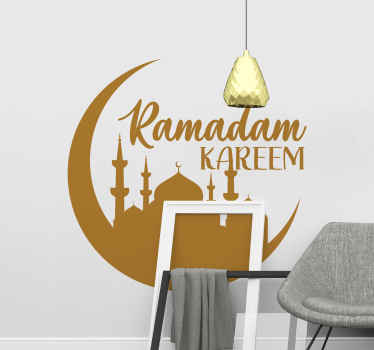 Decorative ornamental RamadanKareem decalto beautify and adorn any space of choice. The design is an Islamic mosque with moon and inscription.