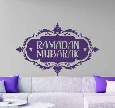 A decorative oriental Arabian wall sticker  of Ramadan Mubarak inscription design. Easy to apply and available in different colours and sizes.
