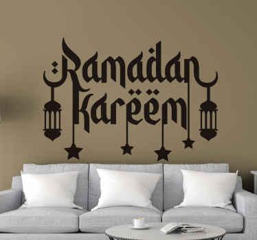 Ornamentation decorative Arabian location theme decal. The design is an inscription of ''Ramadan Kareem with ornamental lamps and stars.