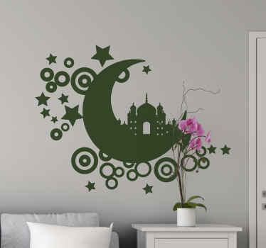 Ornamental Arabian wall sticker design that can be used to decorate any flat surface for beautification. Easy to apply and made of high quality.