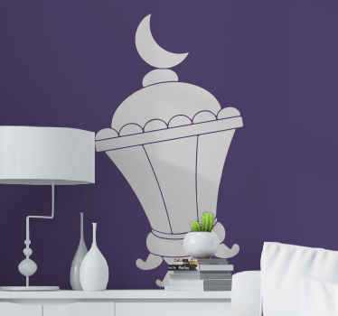 Decorative Arabic lamp wall art decal. The design is a lantern with an iconic moon, its lovely to decorate a living room, bedroom and any other space.
