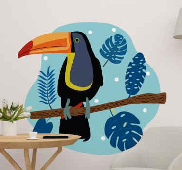 Decoratieve gatenplant en toekan muursticker om uw ruimte een natuurlijke decoratieve uitstraling te geven. Het product is gemaakt van hoogwaardig vinyl.